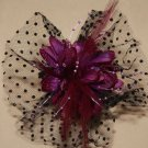 WEDDING BRIDAL RED/BLACK/BEIGE/PURPLE/WHITE HAIR CLIP VEIL NET FLOWER FASCINATOR