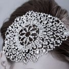 BRIDAL WEDDING RHINESTONE CRYSTAL FLAT HOOK APPLIQUE WITH HAIR BOBBY CLIPS