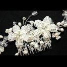PEARL FLOWER BRIDAL WEDDING BRIDES RHINESTONE CRYSTAL TIARA HAIR COMB