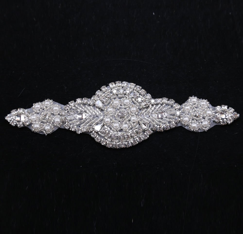 IRON/ SEW BEADED GLASS CRYSTAL RHINESTONE WEDDING EMBROIDED FAUX PEARL APPLIQUE