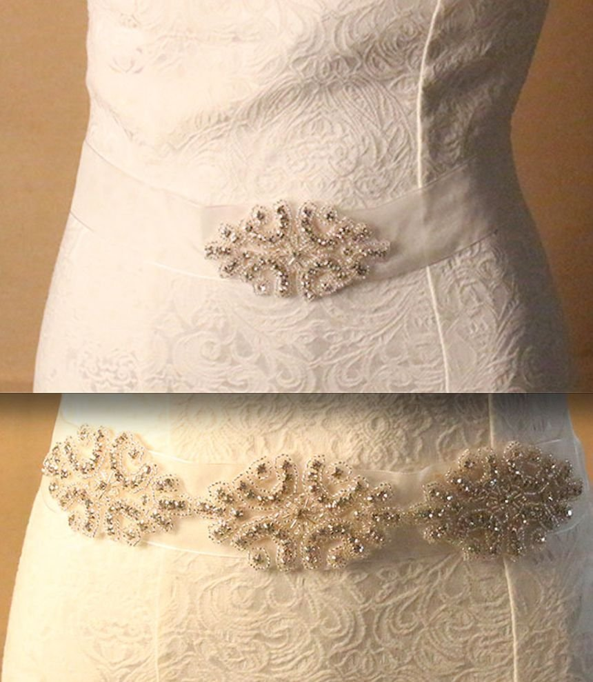 BRIDESMAIDS BRIDAL WEDDING DRESS BEADED CRYSTAL APPLIQUE RHINESTONE SASH BELT