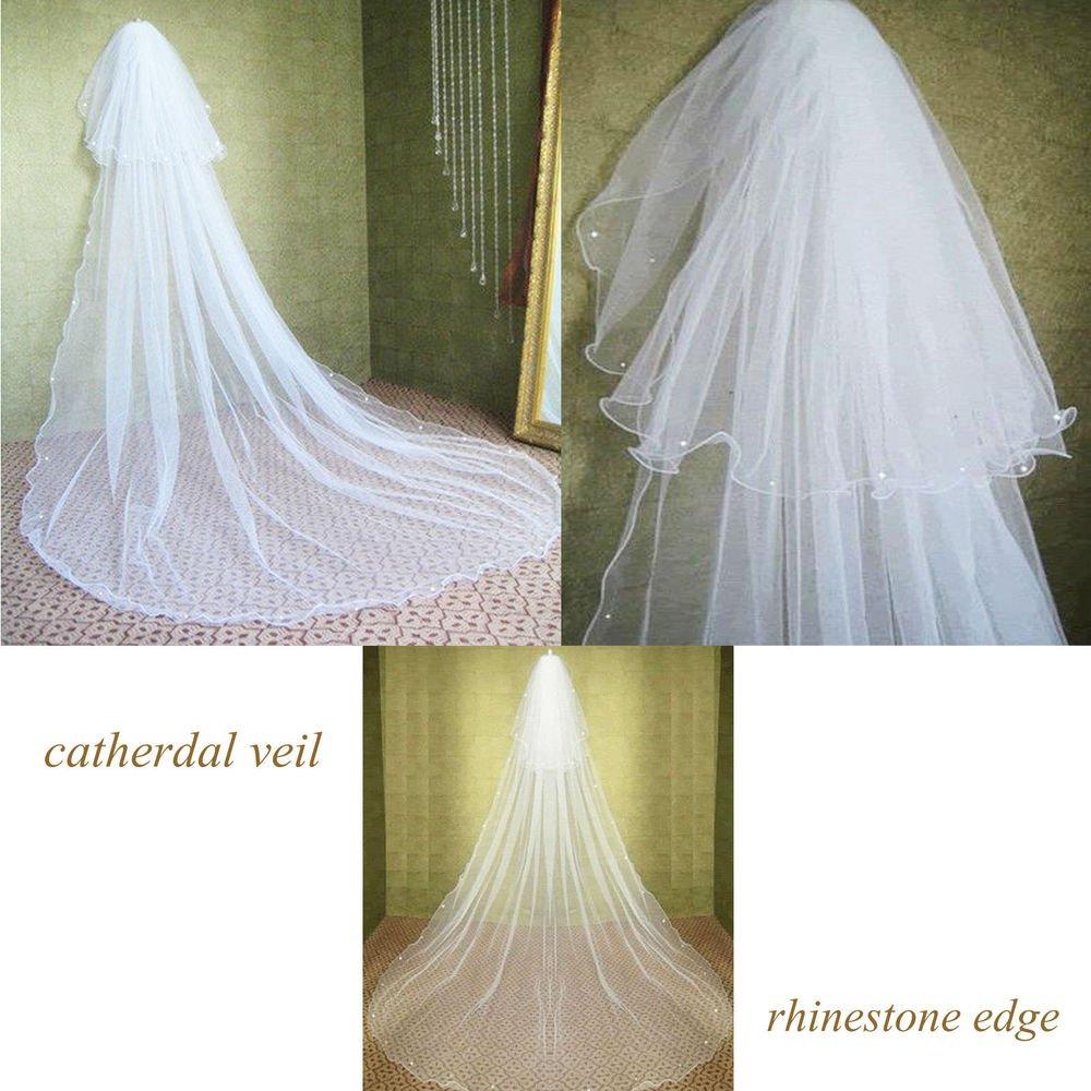 WEDDING BRIDAL RHINESTONE CRYSTAL EDGE TULLE WHITE/ IVORY CATHEDRAL VEIL 2 Tiers