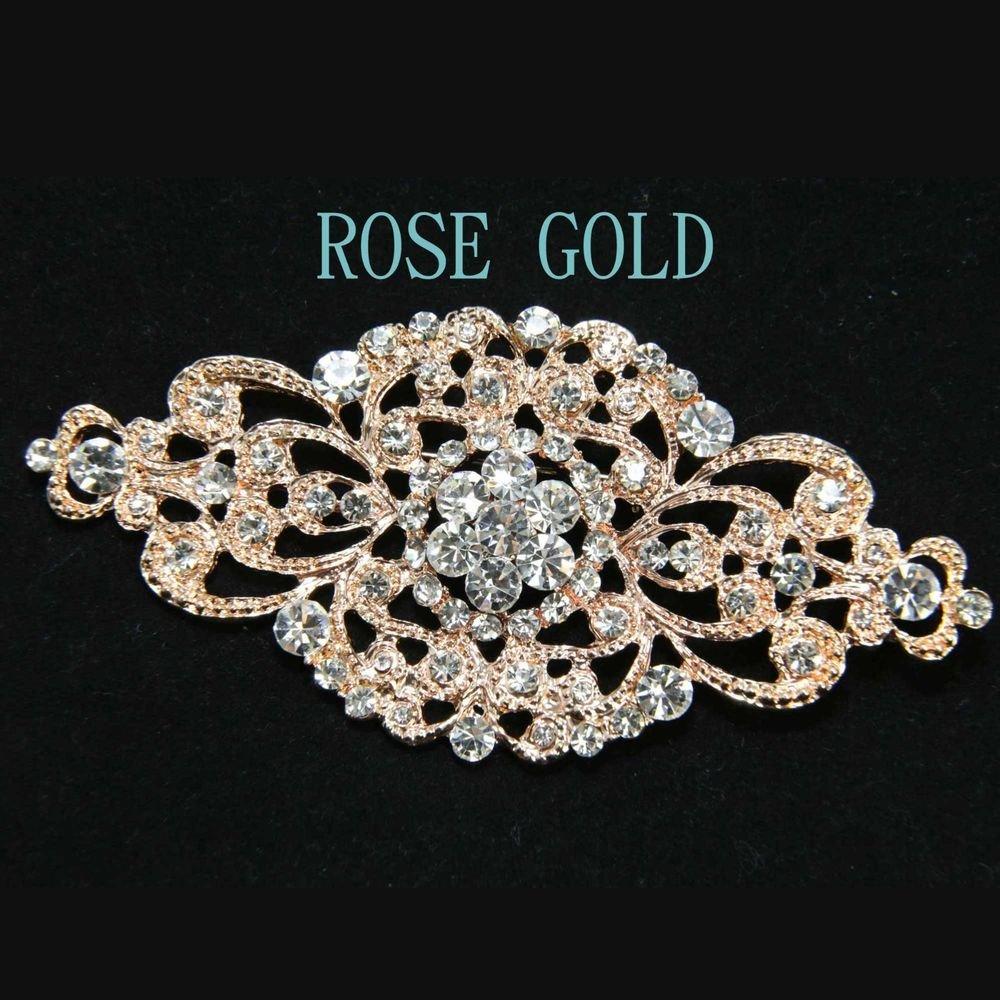 ROSE GOLD RHINESTONE CRYSTAL BRIDAL WEDDING DRESS RHOMBUS GLASS BROOCH PIN
