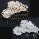 Double Feather Rhinestone Crystal Rose Gold / Silver Wedding Bridal Hair Comb