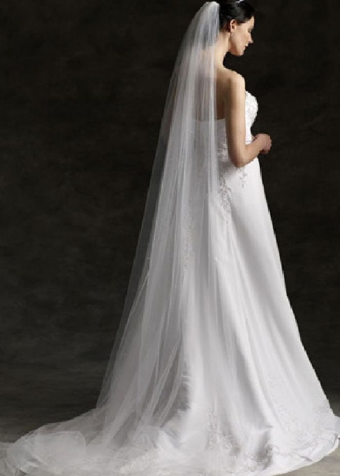 WEDDING BRIDAL SOFT NET TULLE WHITE/IVORY CATHEDRAL LONG VEIL 1 Tier with Comb