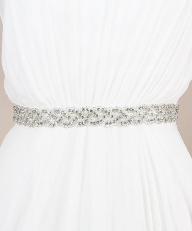 BRIDAL WEDDING APPLIQUE RHINESTONE CRYSTALS WHITE/IVORY/BLACK SATIN SASH BELT
