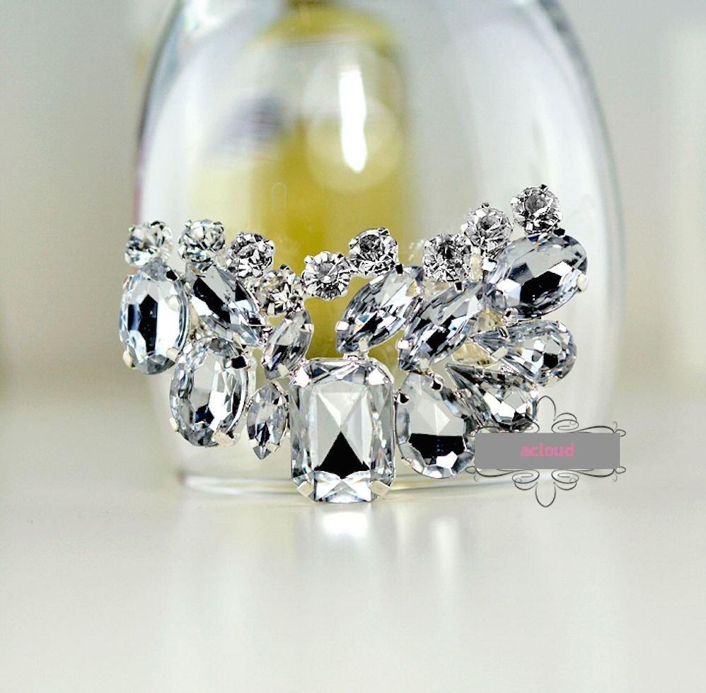 Sparkling Acrylic Rhinestone Crystal Wedding Bridal Silver Tone Shoe Clips Pair