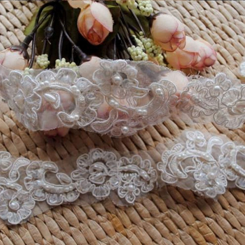 Beaded Pearl Off White Motif Embroidered Wedding Bridal Lace Trim 1 Yard DIY