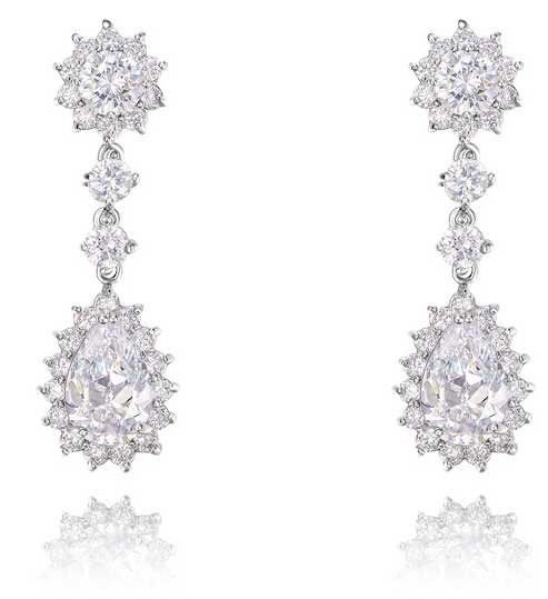 Wedding Bridal Teardrop Zircon Crystal Stud White Platinum Plated Earrings
