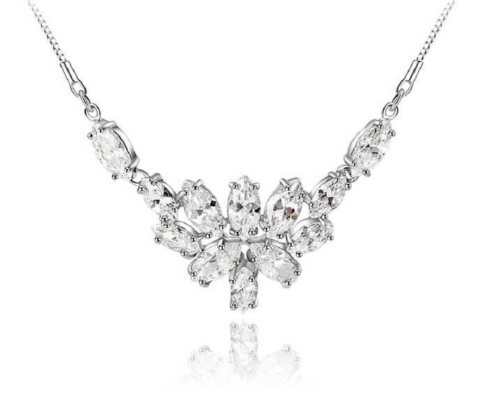 Wedding Bridal Bride Bridesmaids Zircon Crystal Chain Necklace