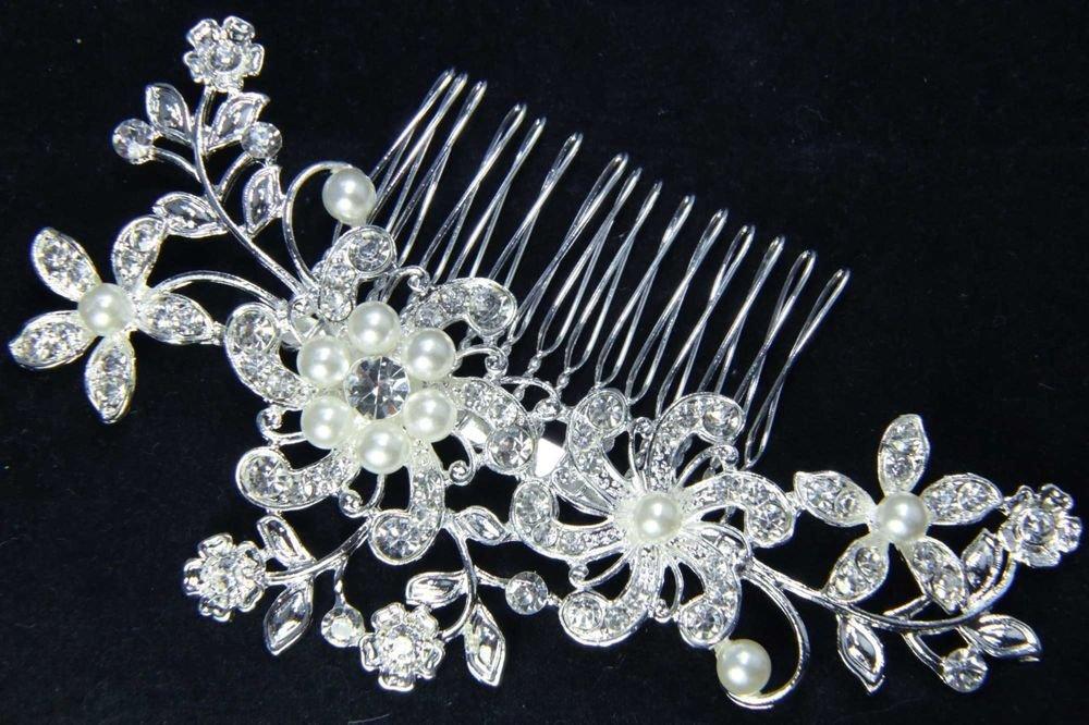 SILVER FLOWER BRIDAL WEDDING BRIDES PEARL RHINESTONE CRYSTAL TIARA HAIR COMB