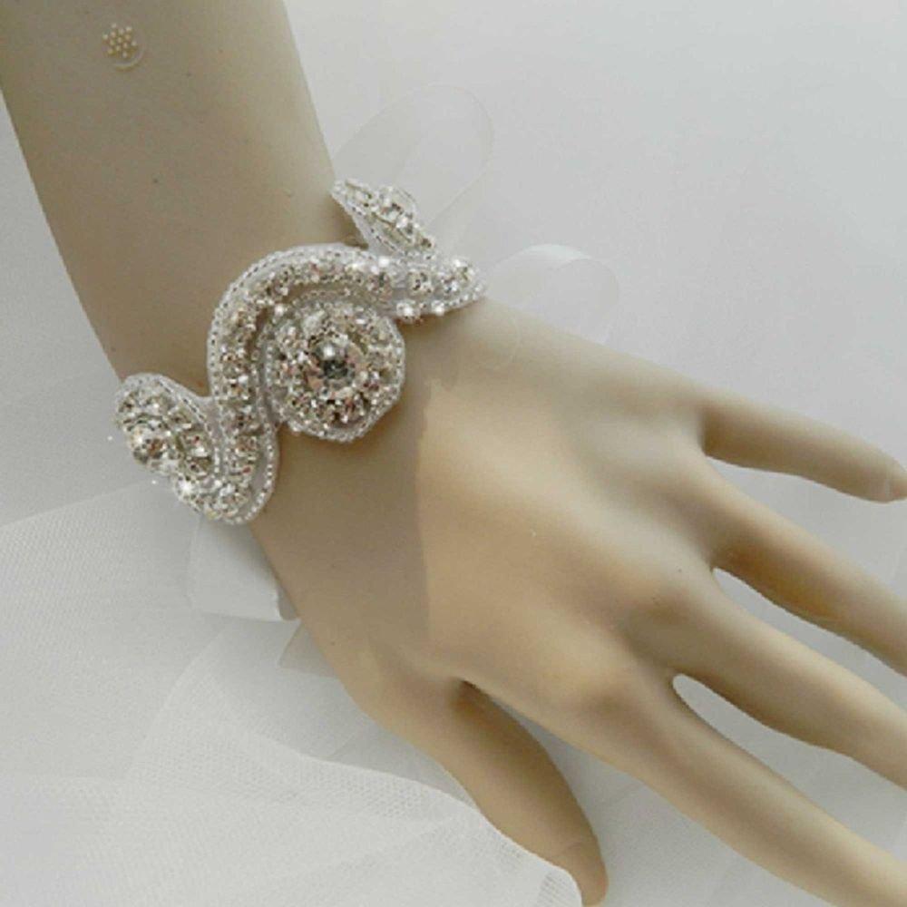 RHINESTONE CRYSTAL WEDDING BRIDAL BRIDE HANDMADE OVAL APPLIQUE RIBBON BRACELET