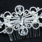 SILVER FLOWER BRIDAL WEDDING BRIDES FAUX PEARL RHINESTONE CRYSTAL  HAIR COMB