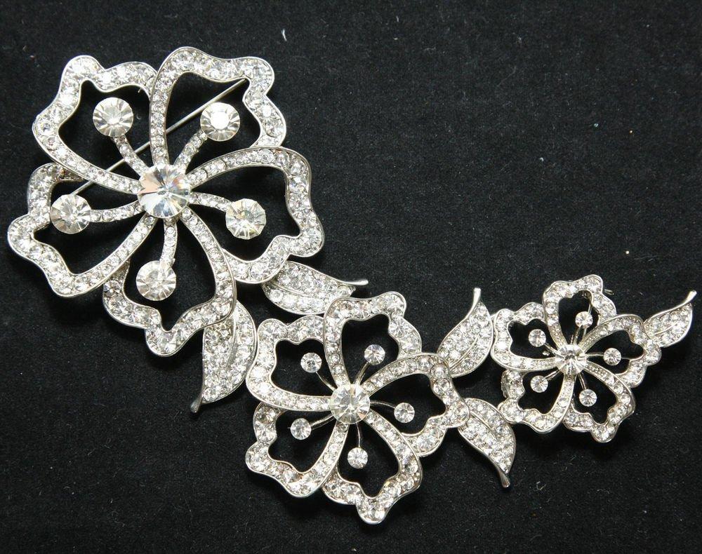 Three Flowers Leaves Wedding Bridal Rhinestone Crystal Brooch Pin
