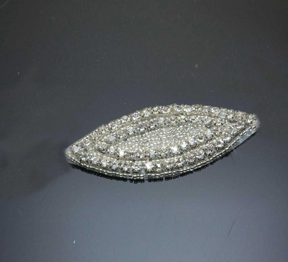 LOT OF 2 BEADED GLASS CRYSTAL RHINESTONE WEDDING HAIR CRAFT OVAL APPLIQUE