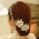 FAUX PEARL CRYSTAL BRIDAL WEDDING RHINESTONE FLOWER WIRE HAIR TIARA VINES CLIPS
