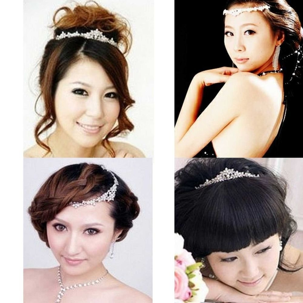 WEDDING BRIDAL CLEAR RHINESTONE CRYSTAL HAIR FOREHEAD TIARA CROWN