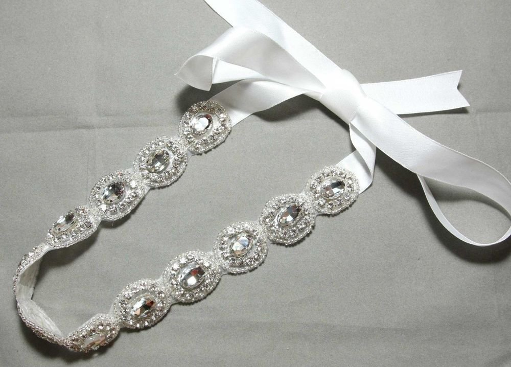 WHTIE RIBBON APPLIQUE BEADED TRIM GLASS CRYSTAL RHINESTONE WEDDING HAIRBAND