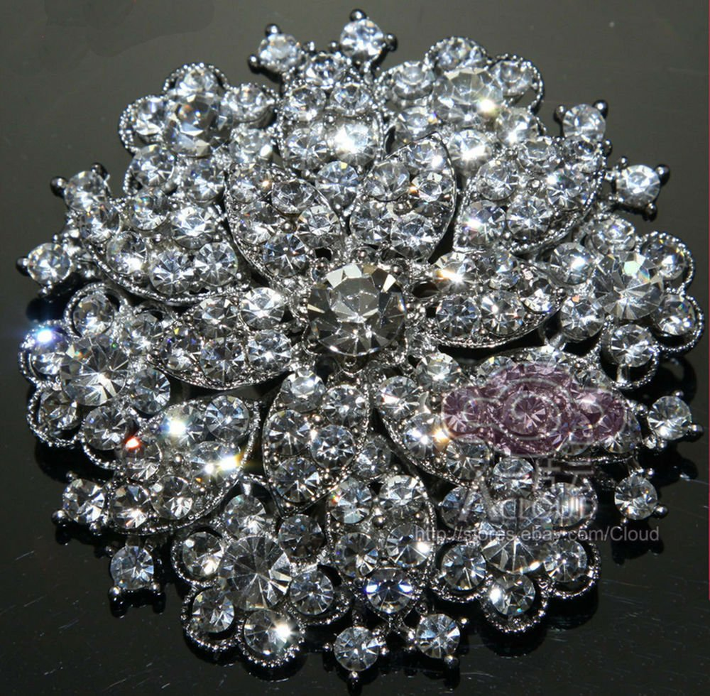 Bling Wedding Bridal Rounded Flowers Czech Crystal Rhinestone Brooch Pin