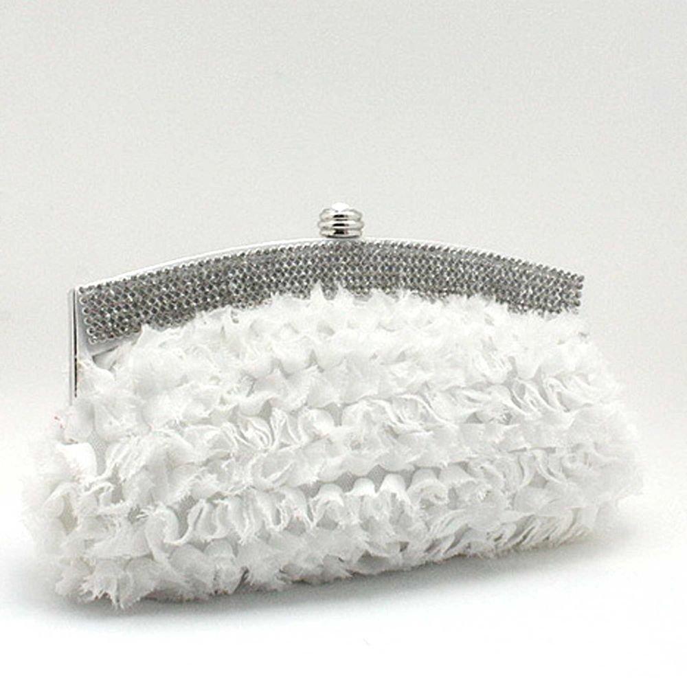 WHTIE CRYSTAL RHINESTONE ROWS WEDDING BRIDAL CLUTCH SHOULDER BAG PURSE