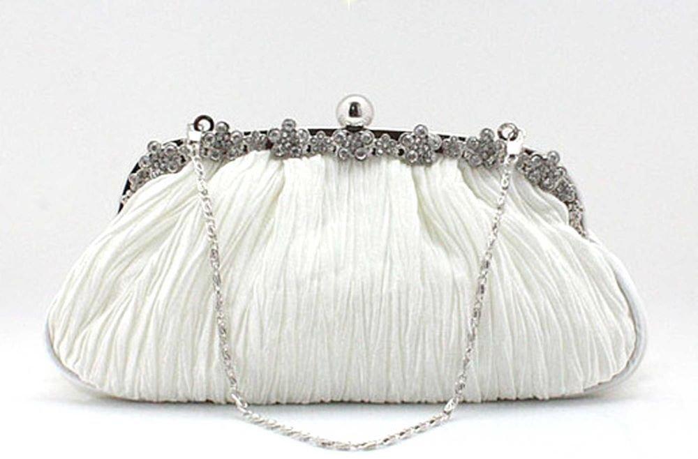 OFF WHTIE CRYSTAL RHINESTONE WEDDING BRIDAL CLUTCH SHOULDER BAG PURSE