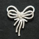 Bling Wedding Bridal Double Butterfly Bow Rhinestone Crystal Brooch Pin
