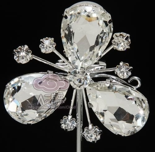 Three Large Rhinestone Crystal Petals Flower Brooch Pin