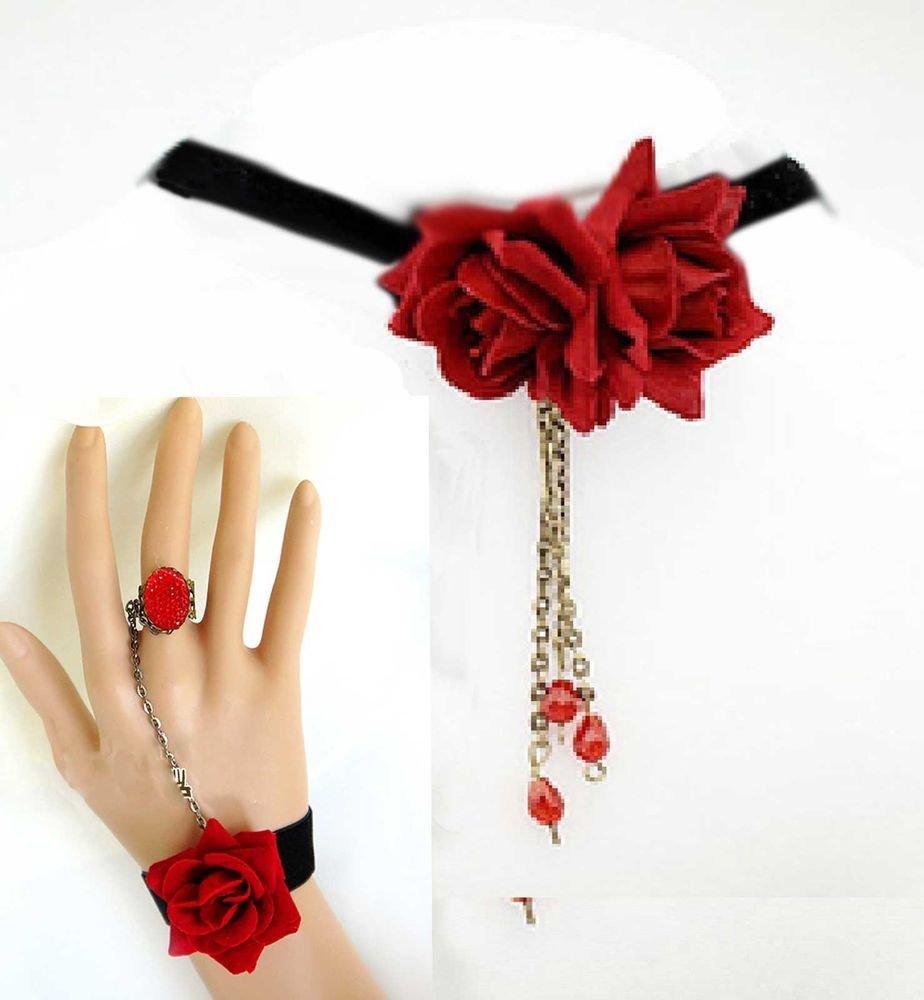 GOTHIC LOLITA BLACK VELVET RED ROSE DANGLE DROP BRACELET & NECKLACE SET