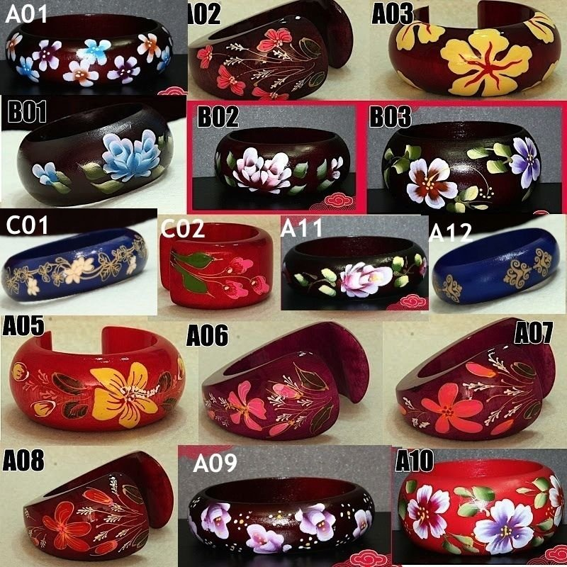 Asian Flower Paint Handmade Wooden Cuff Bracelet Bangle