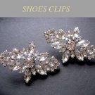 Rhombus Marquise Rhinestone Crystal Silver Tone Wedding Bridal Shoe Clips Pair