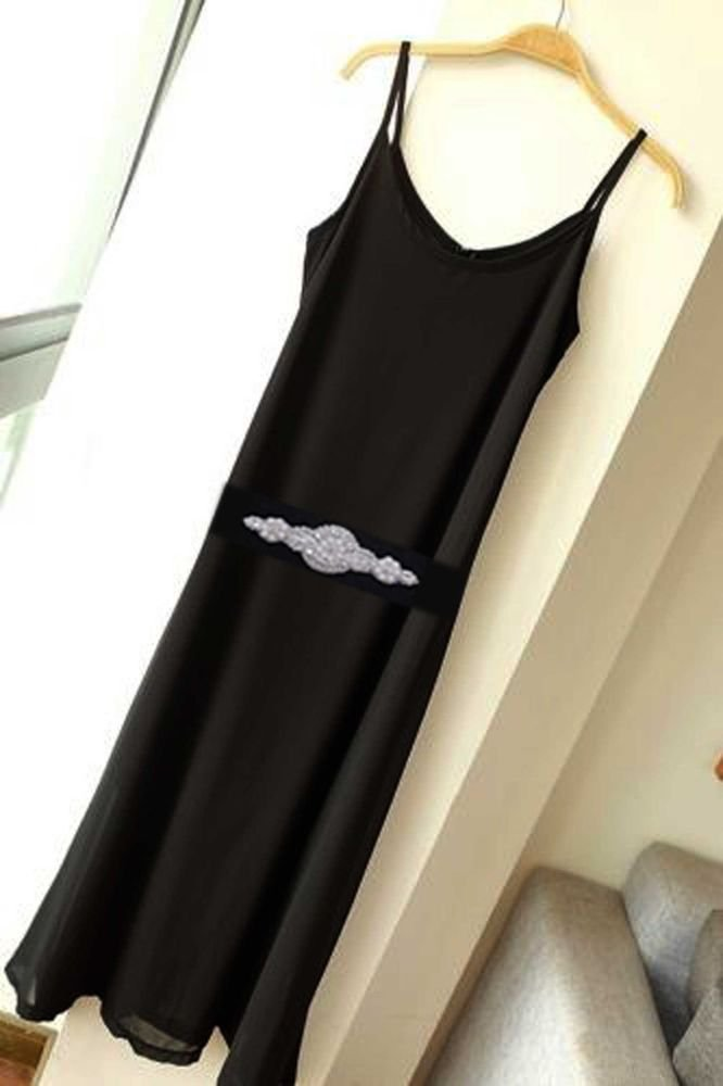CHIFFON BLACK DRESS WITH PEARL CRYSTAL RHINESTONE APPLIQUE RIBBON SASH