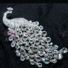 100% CLEAR GLASS RHINESTONE CRYSTAL PEACOCK WEDDING HAIR ACCESSORY BROOCH PIN