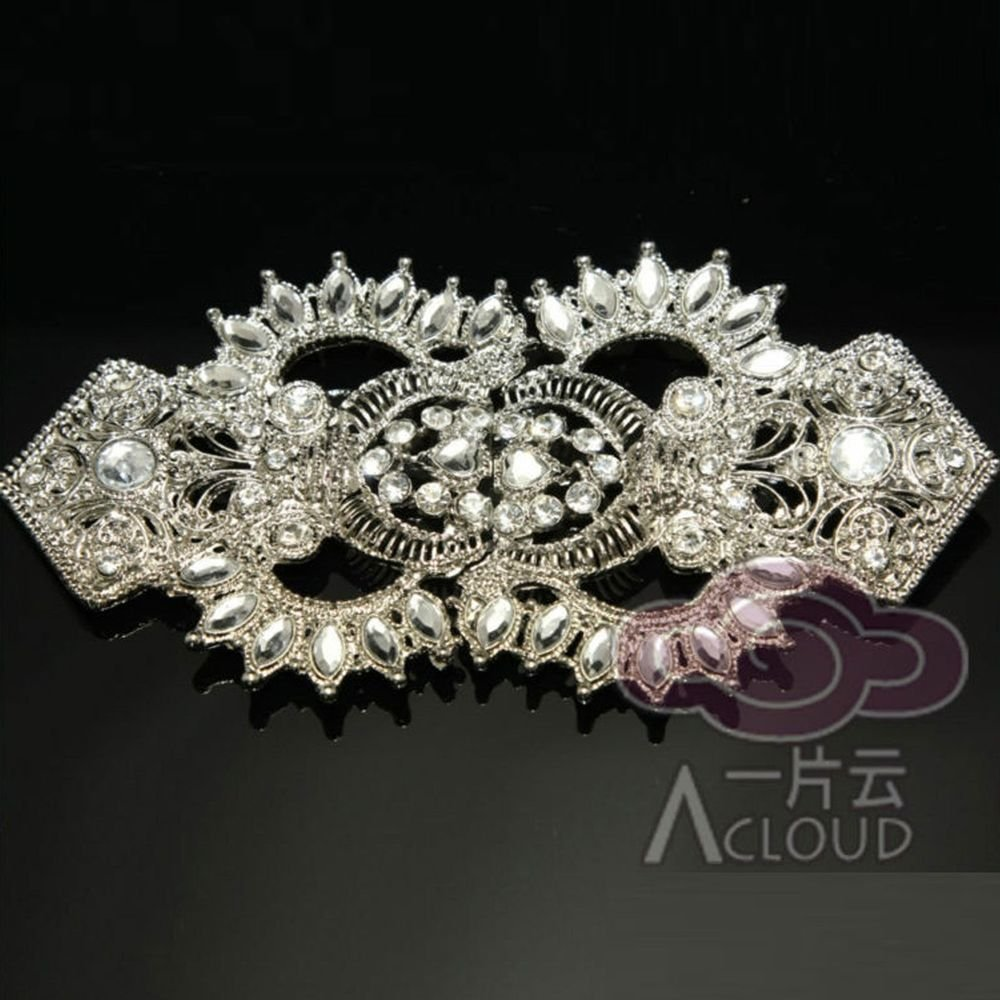 BRIDAL WEDDING DRESS GOWN BUCKLE RHINESTONE CRYSTAL BELT MATCHING CLASP BUTTON