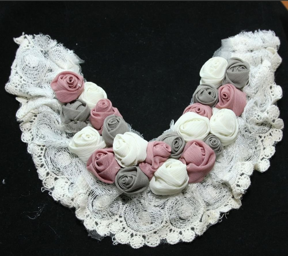 CREAM WHITE LACE PINK GREY SPRING ROSE HANDMADE CRAFT BIB NECK COLLAR APPLIQUE