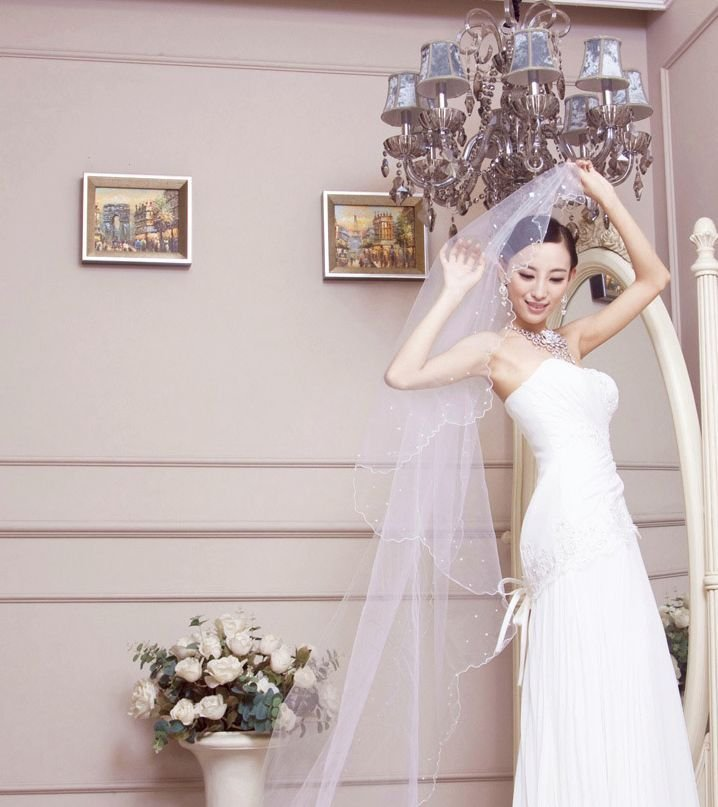 WEDDING BRIDAL BRIDES LONG PEARL WHITE/ OFF WHITE CATHEDRAL VEIL 1 Tier