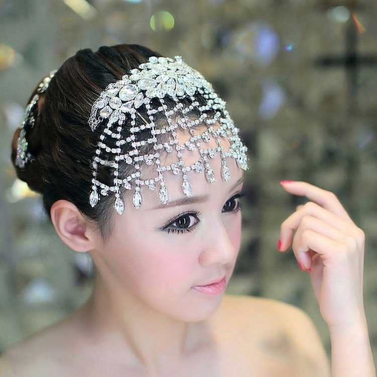 WEDDING  RHINESTONE CRYSTAL TASSEL HAIR TIARA ARMLET CHOKER & NECKLACE EARRINGS