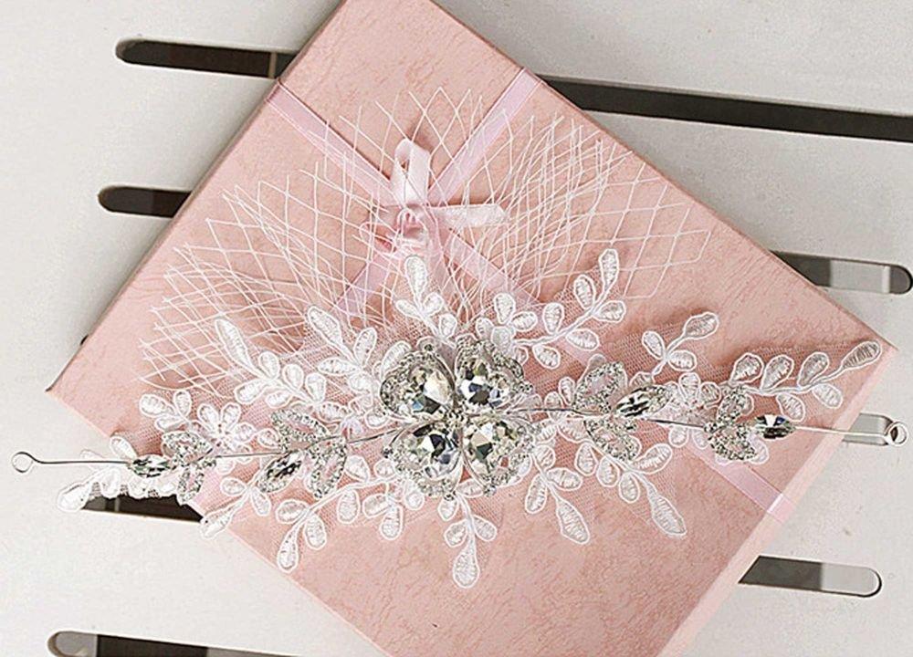 WEDDING BRIDAL RHINESTONE CRYSTAL LACE VEIL NET FOREHEAD HAIR HEADBAND TIARA