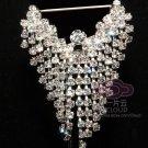 Vintage Style Dangle Rhinestone Crystal Wedding Bridal Guard Brooch Pin