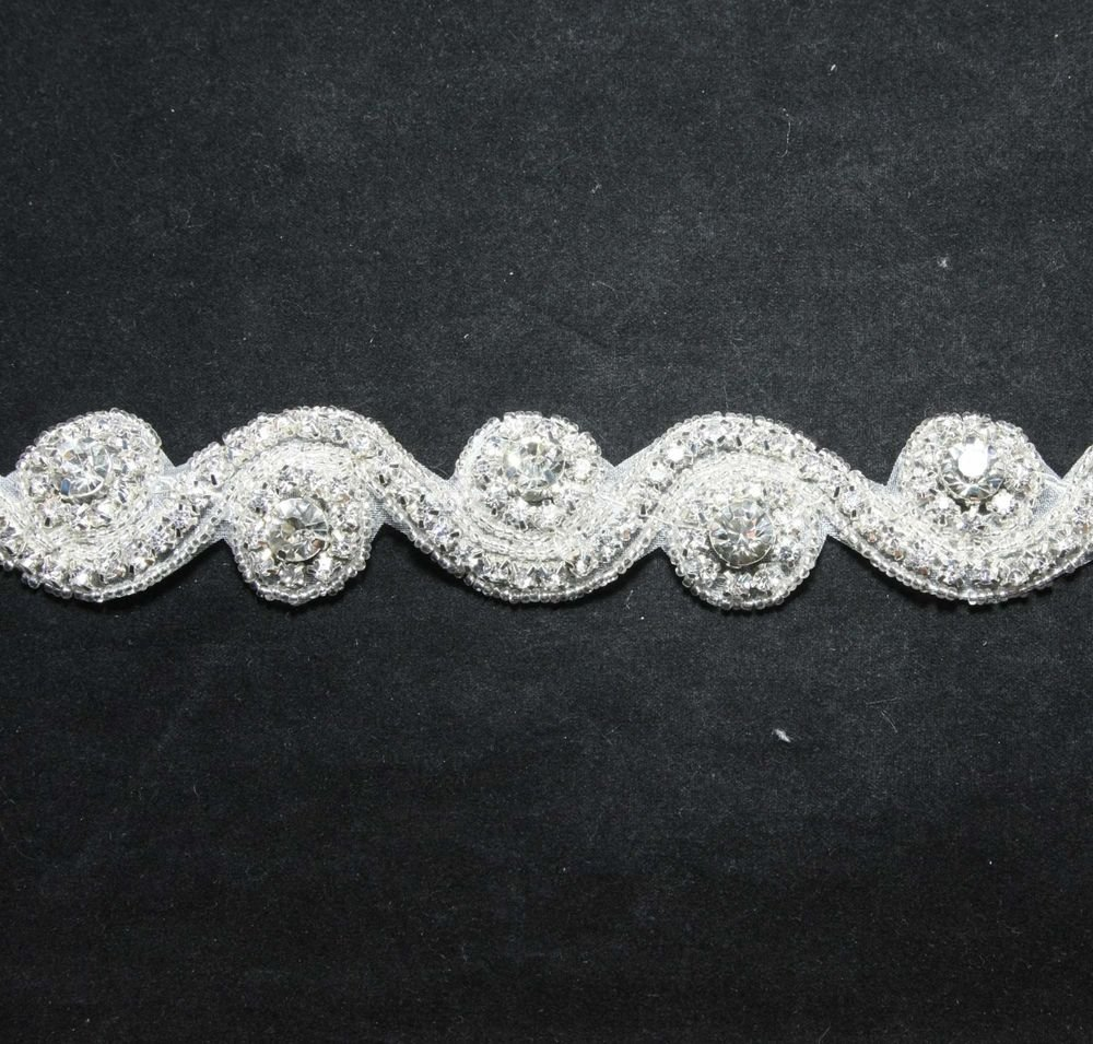 Circle Wave Crystal Rhinestone Wedding Sash Headband Long Trimmed Applique DIY
