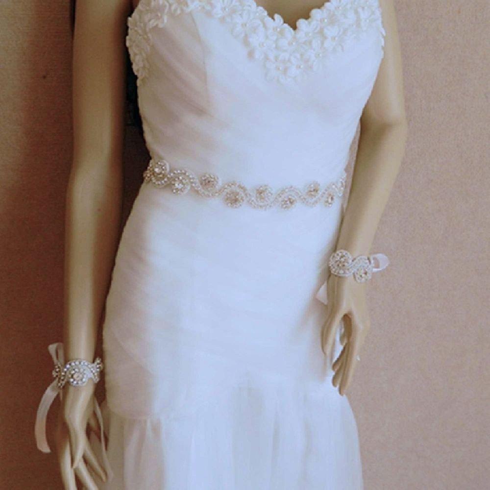 WHITE (OTHERS) ORGANZA RIBBON CRYSTAL RHINESTONE WEDDING SASH BELT & BRACELET