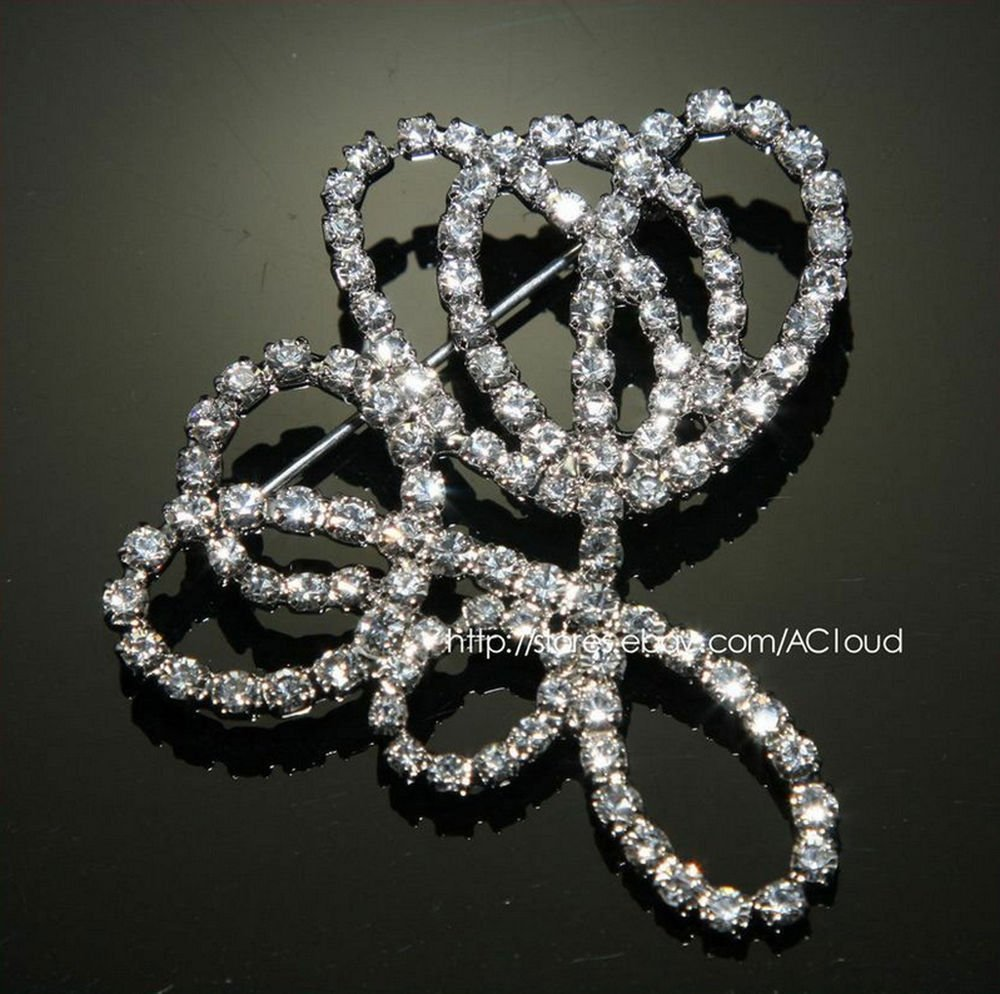 ART DECO RHINESTONE CRYSTAL GLASS WEDDING BRIDAL DRESS SASH PIN BROOCH -CAS