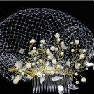 BRIDAL WEDDING PEARL ACRYLIC CRYSTAL GOLD STONE BIRDCAGE NET VEIL HAIR COMB
