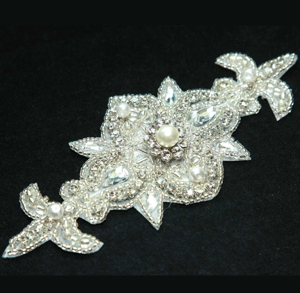 IRON/ SEW BEADED GLASS CRYSTAL RHINESTONE PEARL FLOWER FLORAL WEDDING APPLIQUE