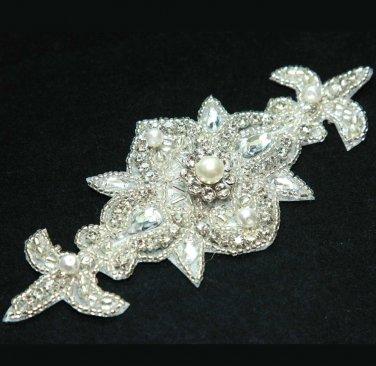 IRON/ SEW BEADED GLASS CRYSTAL RHINESTONE PEARL FLOWER FLORAL WEDDING APPLIQUE