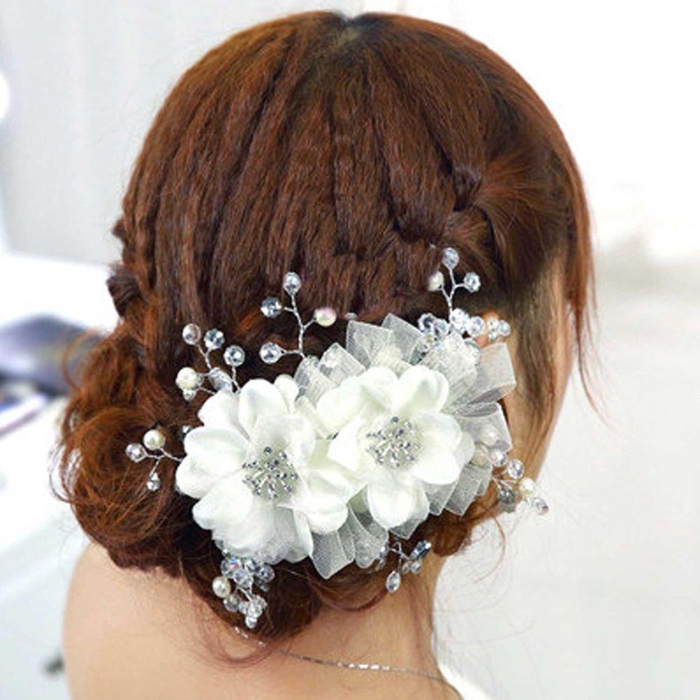 FAUX PEARL BRIDAL WEDDING BRIDES ACRYLIC RHINESTONE HAIR FLOWER TIARA