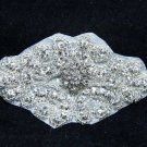 Hot Fix Iron/Sew Silver Beaded Snow Crystal Rhinestone Applique Motif DIY