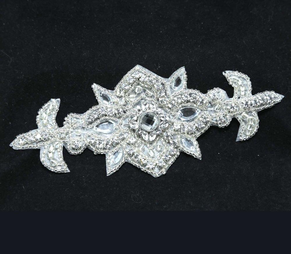IRON/ SEW BEADED GLASS CRYSTAL RHINESTONE WEDDING DRESS SASH DECORATION APPLIQUE
