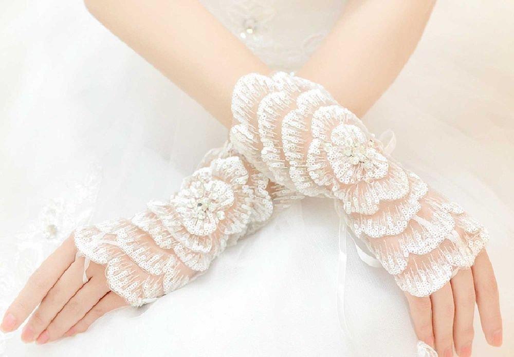 IVORY LACE SEQUIN BRIDES WEDDING ROSE PATTERN FINGERLESS RHINESTO
