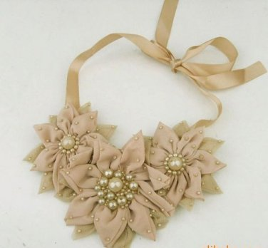 Pink/Brown/Ivory Chiffon Lace Flower Ribbon Choker Necklace
