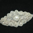"3.5"" Faux Pearl Beaded Rhinestone Crystal Wedding Bridal Garter Craft Applique"